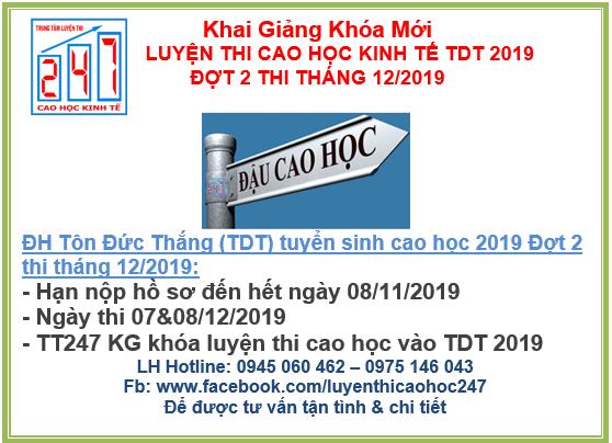 Đại học Tôn Đức Thắng thông báo tuyển sinh cao học kinh tế 2019 đợt 2  – Kỳ thi tháng 12/2019