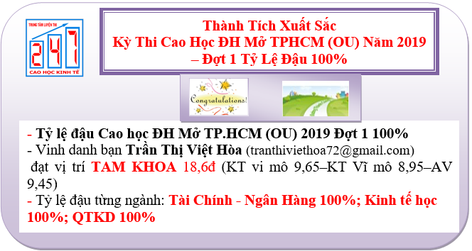 Chúc mừng A/C đậu cao học kinh tế ĐH Mở (OU) 2019 Đợt 1 – Với tỷ lệ đậu 100%; Vinh danh bạn Trần Thị Việt Hòa Đạt vị trí Tam Khoa