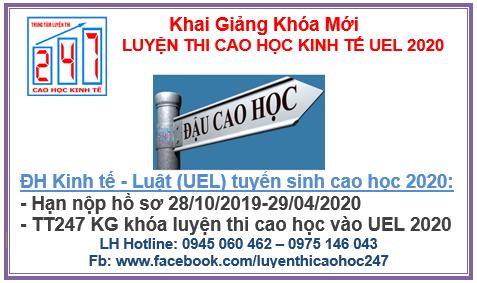 Luyện thi cao học kinh tế vào đại học Kinh tế  – Luật (UEL) (ĐH Quốc Gia TPHCM) 2020