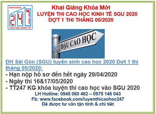 Luyện thi cao học kinh tế vào đại học Sài Gòn (SGU ) 2020 đợt 1 kỳ thi tháng 05/2020