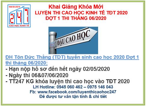 Đại học Tôn Đức Thắng thông báo tuyển sinh cao học kinh tế 2020 đợt 1  – Kỳ thi tháng 06/2020
