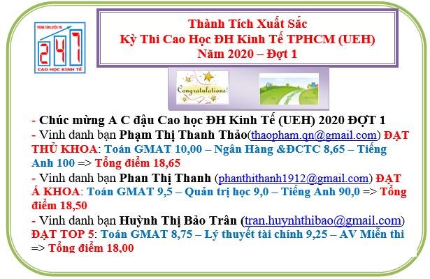 Chúc mừng A C đậu Kỳ thi Cao học ĐH Kinh tế TPHCM (UEH) 2020 đợt 1 – cả 3 vị trí THỦ KHOA-Á KHOA-TAM KHOA thuộc về Trung tâm 247, Với tỷ lệ đậu ~100%