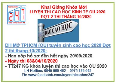 Đại học Mở TPHCM (OU) thông báo tuyển sinh cao học kinh tế 2020 Đợt 2 thi tháng 10/2020