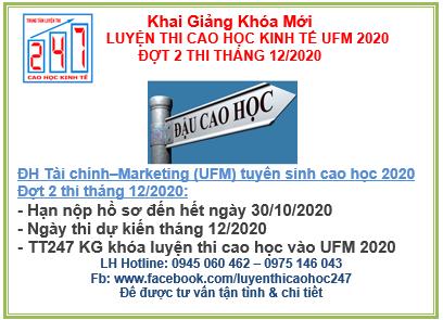 Đại học Tài chính – Marketing (UFM) thông báo tuyển sinh cao học kinh tế 2020 – Đợt 2 – Kỳ thi 12/2020