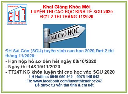 Đại học Sài Gòn thông báo tuyển sinh cao học kinh tế 2020 – đợt 2- Kỳ thi tháng 11/2020