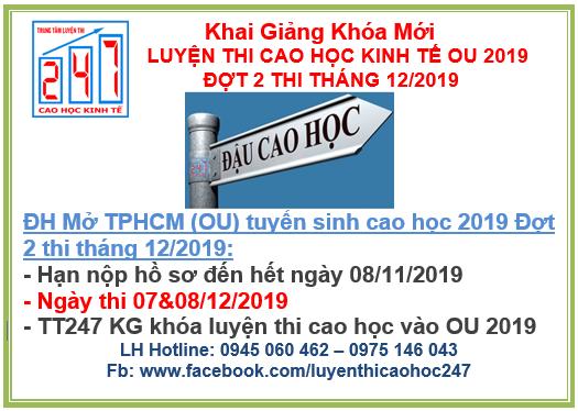 Đại học Mở TPHCM (OU) thông báo tuyển sinh cao học kinh tế 2019 Đợt 2 thi tháng 12/2019