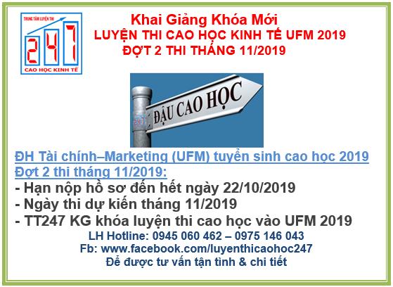 Đại học Tài chính – Marketing (UFM) thông báo tuyển sinh cao học kinh tế 2019 – Đợt 2 – Kỳ thi 11/2019