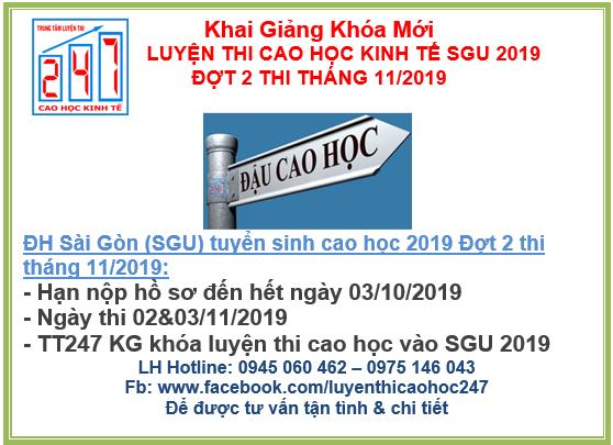 Đại học Sài Gòn thông báo tuyển sinh cao học kinh tế 2019 – đợt 2- Kỳ thi tháng 11/2019