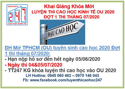 Ôn thi cao học vào đại học Mở TPHCM (OU) 2020 đợt 1 kỳ thi tháng 07/2020
