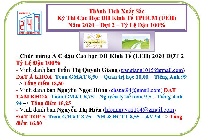 Chúc mừng A C đậu Kỳ thi Cao học ĐH Kinh tế TPHCM (UEH) 2020 đợt 2 – Với tỷ lệ đậu 100%